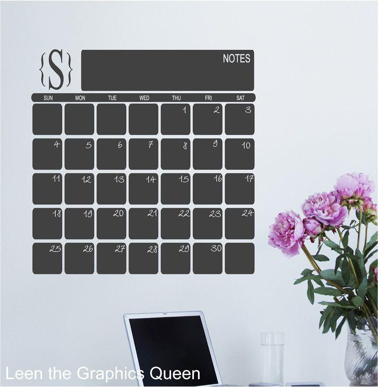 DIY Chalkboard Wall Calendar | Chalkboard wall calendars ...