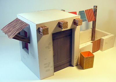 Papercraft de una casa para Belén navideño 3. Manualidades a Raudales.
