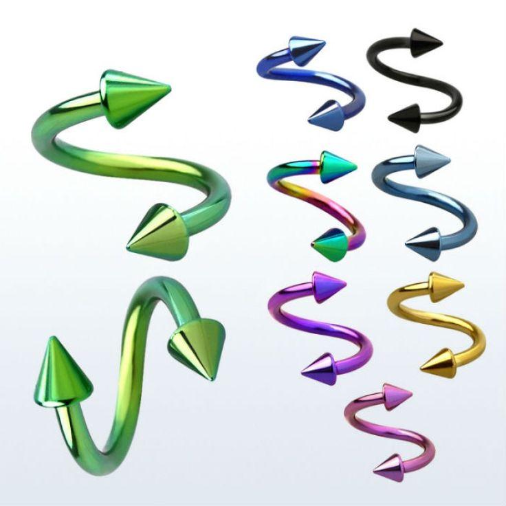 Espirales de colores con conos, para tu piercing de ceja, oreja, labio... https://www.limonbay.com/Espiral-en-colores-anodizado-con-conos *