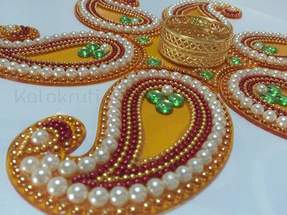 Diwali Acrylic Indian Rangoli with votive holder - Paisley shape
