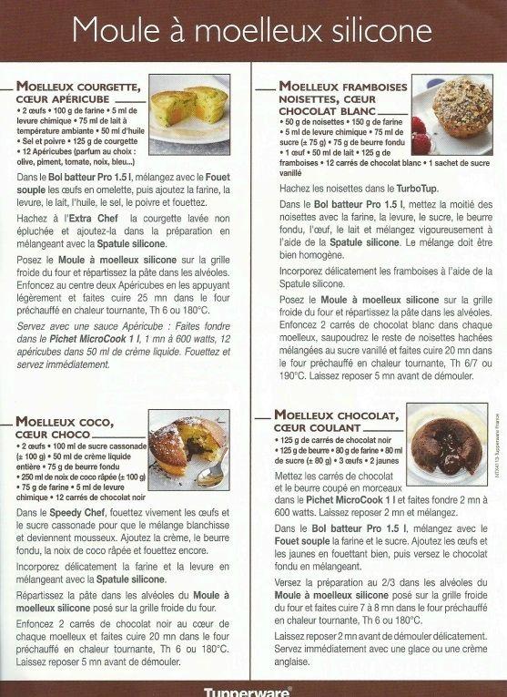 Fiche recette Moule à moelleux 2/2 - Tupperware : Moelleux courgette coeur apéricube, Moelleux framboises noisettes coeur chocolat blanc, Moelleux coco coeur coco, Moelleux chocolat coeur coulant