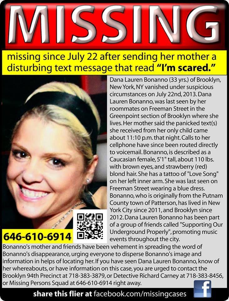 7/22/13: Dana Bonanno, 33, missing from Brooklyn, NY.