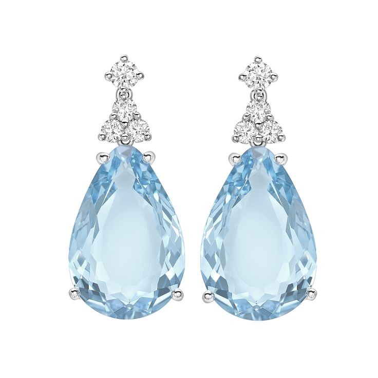 An extremely pretty pair of mini blue topaz smooth cut stones set in 18ct white gold with dazzling diamonds. Stunning earrings to freshen up your jewellery collection.