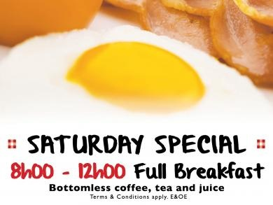 Mikes Kitchhen Alberton - Saturday Special Full Breakfast with Bottomless coffee, tea and juice