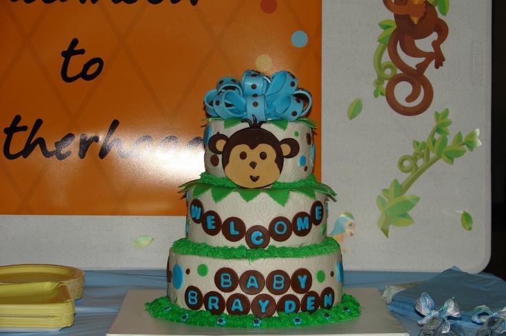 Monkey baby boy shower cake