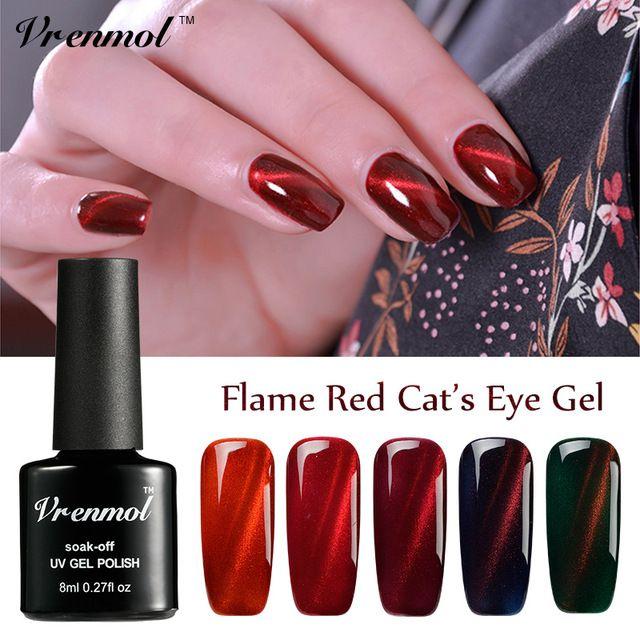 Vrenmol 1pcs 2017 Newest Magnet 3D Gel Varnish UV LED Fire Red Cat Eye Gel Nail Polish Shining Color Soak Off DIY Gel Lacquer