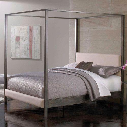 queen modern metal platform canopy frame upholstered hdbrd footboard