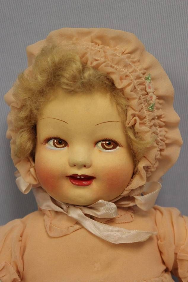 "16"" Antique French c1935 RAYNAL Cloth BABY Doll Factory ..."