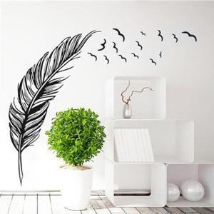 Style Feather Chambre PVC TV Backdrop Entrance Home Office Decor Wall Sticker Mural Decal Wallpaper Noir merveilleuse décoration de bricolage pour votre chambre, salle de bains, bureau, dortoir, magasin et ainsi de suite. style de plume, de la mode