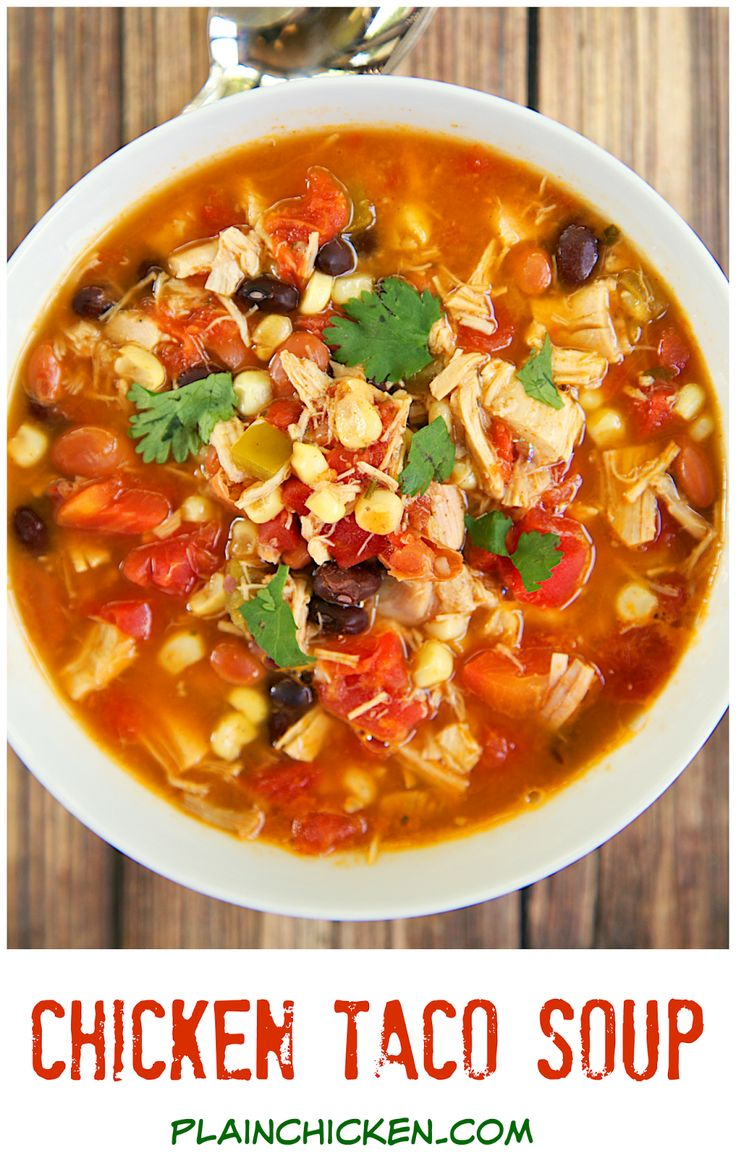 Chicken Taco Soup Recipe - Chicken, beans, corn, tomatoes, Ranch mix and taco seasoning. Can be made two different ways.