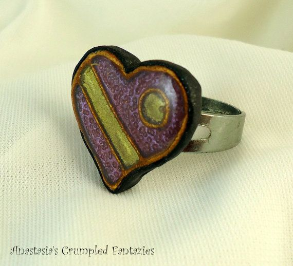 Purple yellow gold polymer clay faux by CrumpledFantazies on Etsy