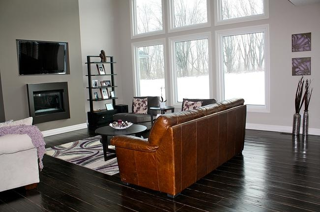 Revival Flooring custom stained this wide plank maple floor in a newly constructed house.