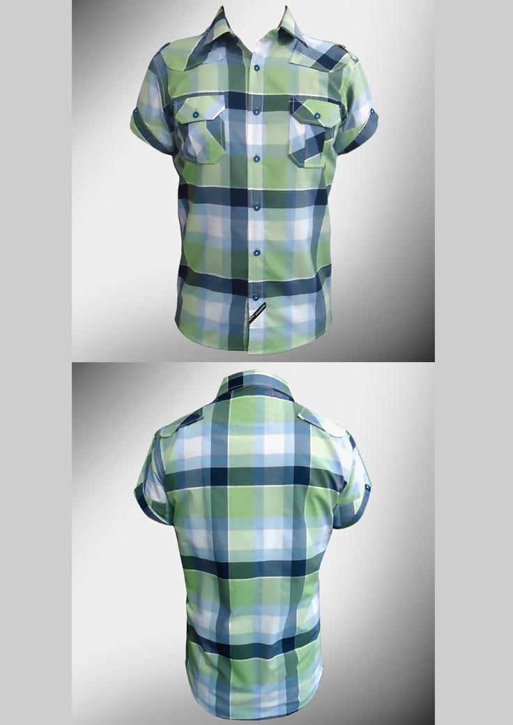 Desarrollo de producto para la marca DKS DIUKAS: Camisa a cuadros con detalles en las mangas