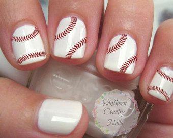 Baseball Stitch Nail Design / Nail Decals by MySportsJewelry
