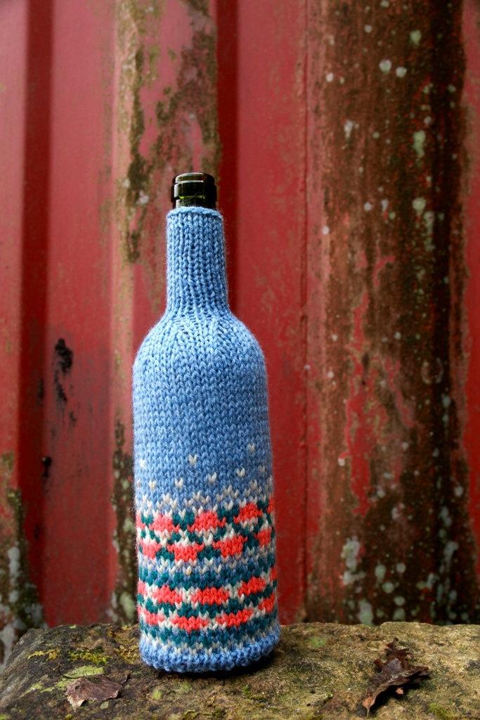 Knitting Pattern Wine Bottle Cover : Wine Bottle Cover, Hand Knitted, Fair isle, Icelandic design, blue, orange ...