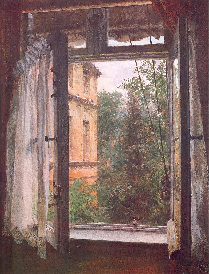View from a Window in the Marienstrasse, 1867, Adolf von Menzel. German Realist Painter (1815 - 1905)