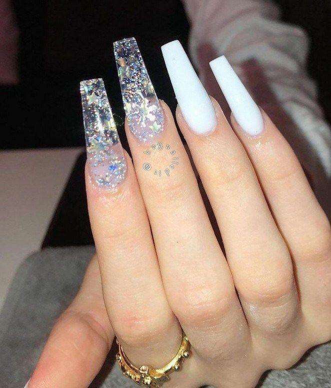 Follow Thejadeharris7 Acrylic Nails Coffin Clear Glitter Nails Holographic Nails