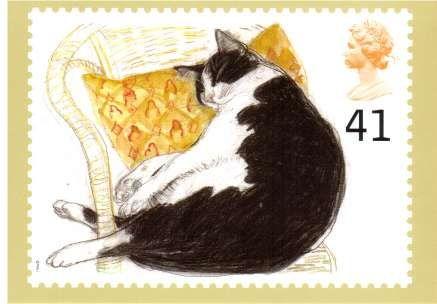 Fred (black and white cat)   British postage stamp 1995   art by Elizabeth Blackadder