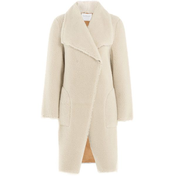 Velvet Faux Shearling Coat ($225) ❤ liked on Polyvore featuring outerwear, coats, white, sherpa coat, slim fit coat, white coat, faux shearling coat and velvet coat