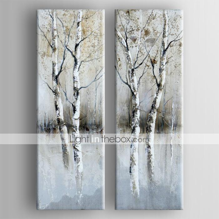 oljemålning modern abstrakt uppsättning av två handen målade med sträckt inramade - SEK Kr. 1,068