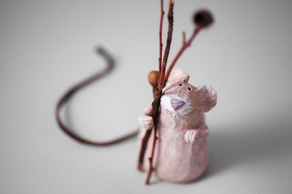 "Ceramic – Stoneware Sculpture ""Nostalgic Poet"" Mouse – a unique product by AnaBossa on DaWanda"