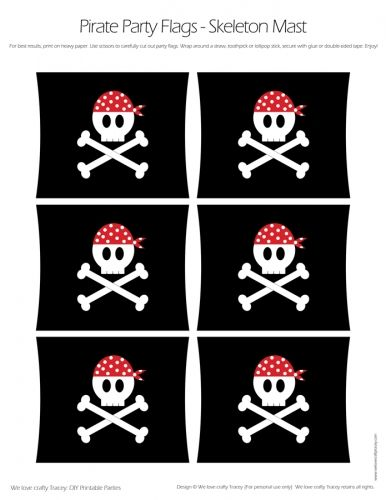 Pirate Party Flags - Skull and Cross Bones Mast-Style Flags - DIY Printable Parties