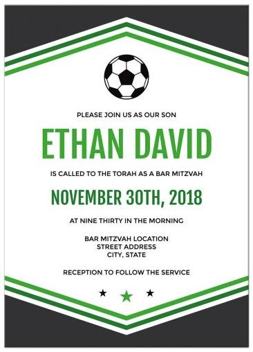 Soccer bar mitzvah invitations with soccer ball and dark gray and green borders. Modern bar mitzvah invitations featuring a black and white soccer ball. At the top and bottom are v-shaped borders in dark gray and two shades of green. The name of the bar mitzvah boy and the date of the event is highlighted in green. The set includes matching RSVP card, reception card and flat thank you note card with personalized name. If you would like any other coordinating items please contact the…