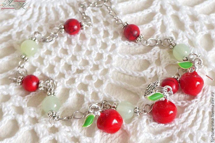 Купить Комплект украшений, колье и серьги Райские яблочки - мятный, красный…