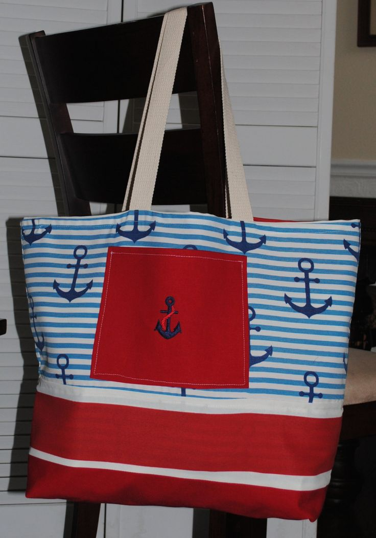 Beach Bag, Extra Large Tote Bag, Reversible Beach Bag, Red, White and Blue Beach Bag, Large Beach Bag, unique beach bag, two pockets bag…