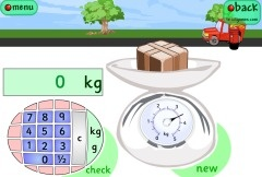 A maths resource for practising reading scales in kilograms and grams.