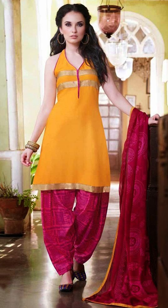 USD 28.46 Yellow Cotton Panjabi Suit 44391