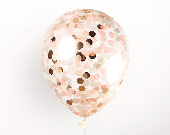 "Confetti Balloon - Peach - 12 inch - Metallic Rose Gold Copper Ivory Beige Blush Pink - 3/4"" Circle Filled - Handmade Tissue Paper"