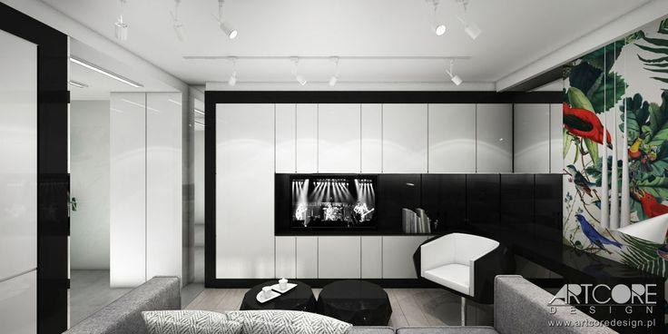 Projektowanie wnętrz apartamentu - czarno biały salon. Więcej na www.artcoredesign.pl .