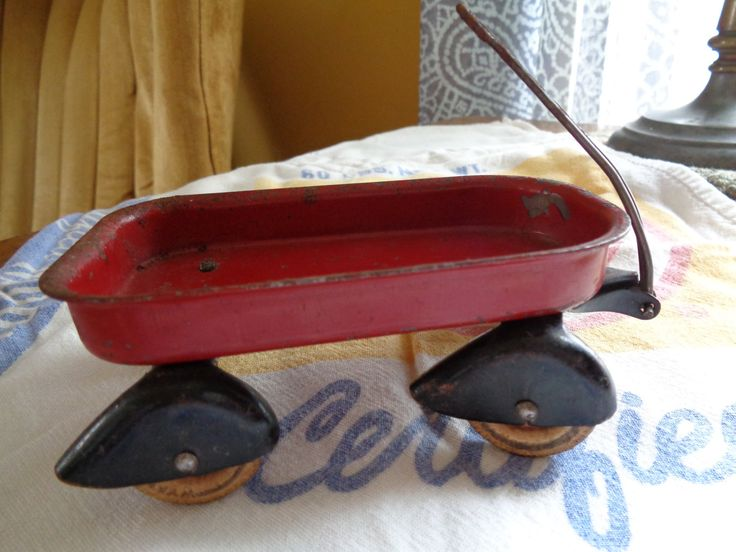 Vintage Miniature Red Metal Wagon, Little Red Toy Wagon by FairchildsInc on Etsy