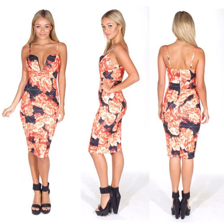 Black Red Floral Print Plunging Midi Dress Item No. : LC21855