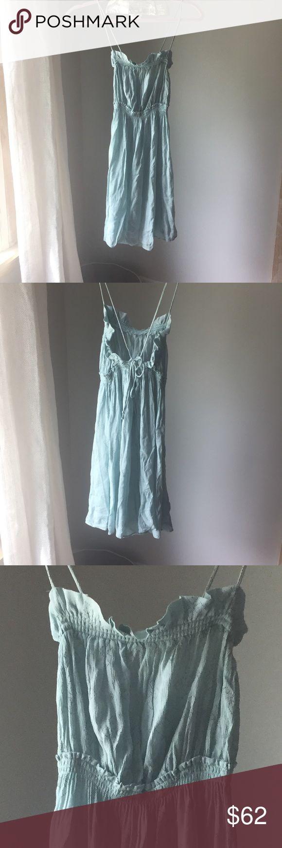 Lovely FP slip dress Wear it under a dress or over a slip, the loveliest shade of pale green blue, like a birds egg, dainty ruffle, adjustable ties Free People Dresses