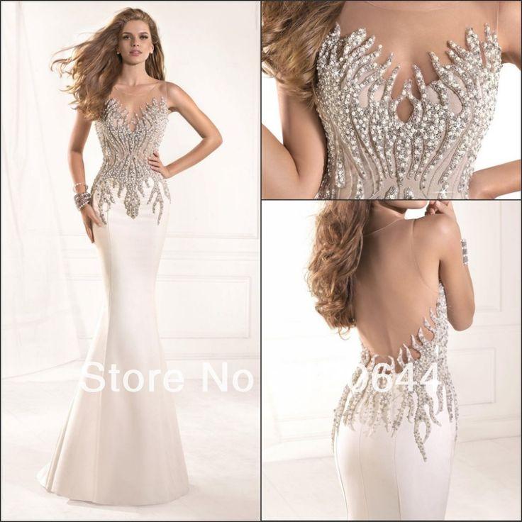 2014 Tarik Ediz Dress Most Radiant Mermaid Crystal Beaded Sheer Neckline Open Back White Prom Party Dresses Long Evening Gown