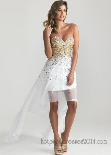White Strapless Gold Sequined Hi-Low Prom Dress