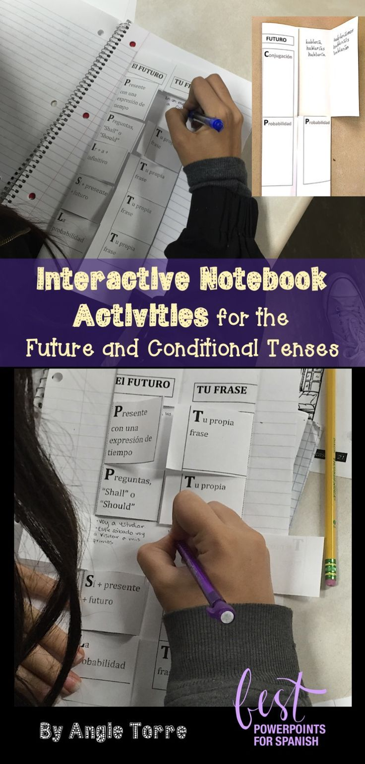 "Spanish Interactive Notebook Activities for the Future and Conditional Tenses by Angie Torre: Foldables, student handouts, PowerPoints, and student instructions. Students practice all the wasy to talk about the future, how to use the future and conditional to talk about probability and the structure, ""si + presente + futuro"".  4m"