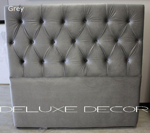 Harper Elegant Velvet Tufted Upholstered Grey Bedhead  http://deluxedecor.com.au/products-page/harper-collection/
