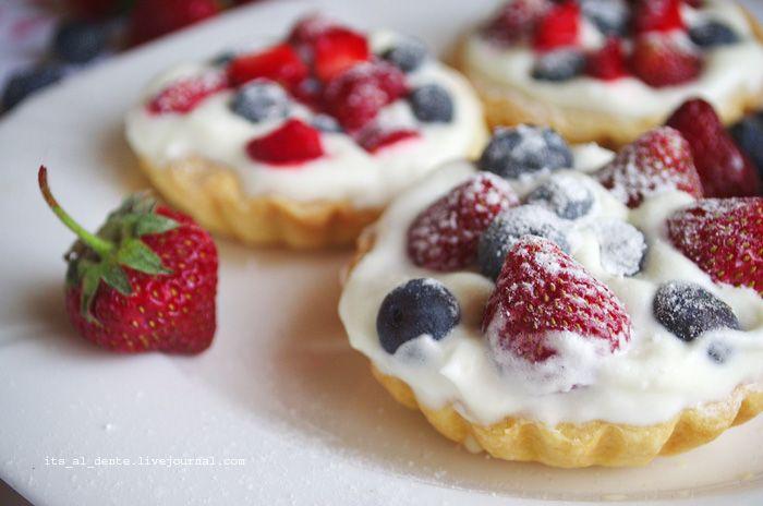Food for mood. Блог о еде, рецепты и фоторецепты. - Тарталетки с муссом из белого шоколада и мяты и с ягодами