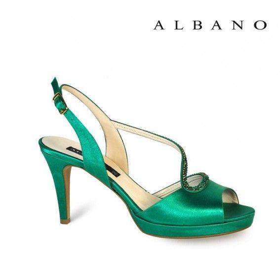 Sandali verdi Albano in satin