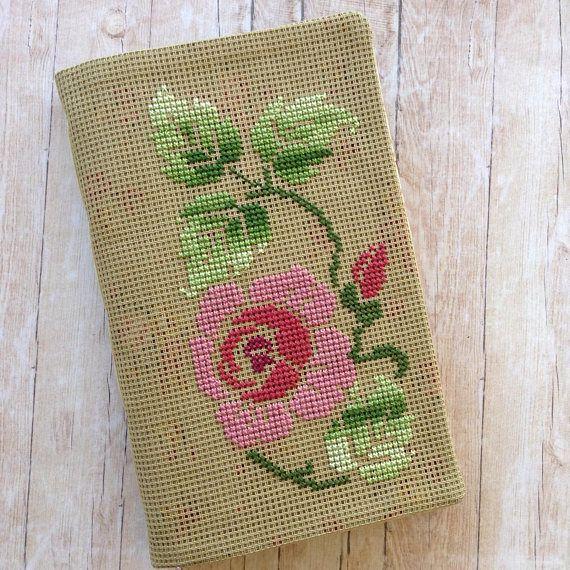 Flowers & Birds Junk Journal. Cross Stitched Cover. Handmade