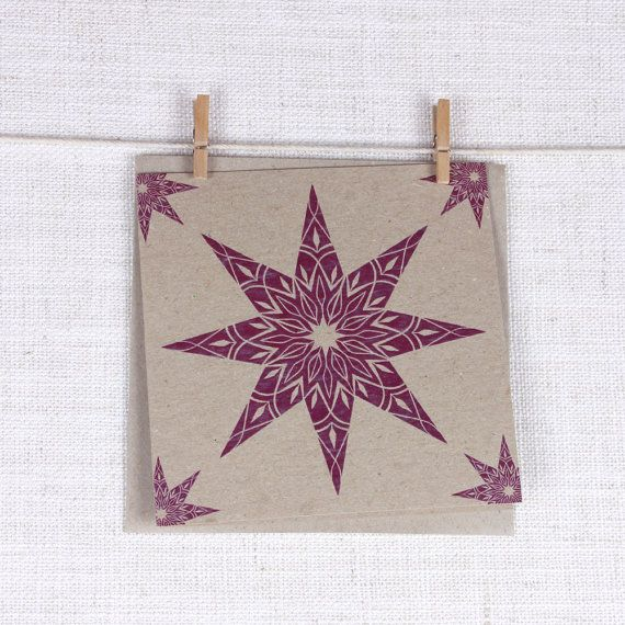 Festive Recycled Greeting card with Purple Christmas Star #christmas #star #gift #purple #greeting #card