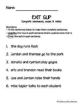 exit slip for nouns verbs amp complete sentences writing