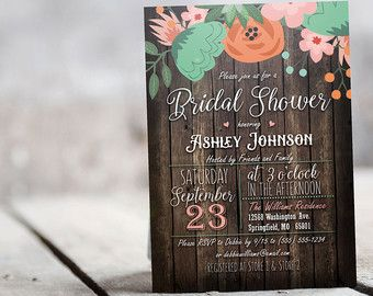 Rustic Country Floral Bridal Shower Invitation by hannahjanedesign