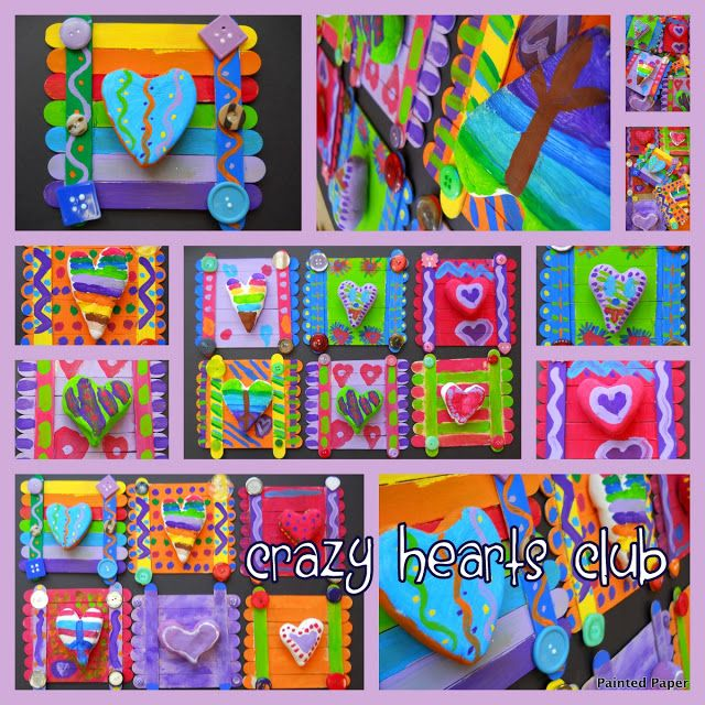 Make clay hearts and mount onto craft sticks. Add buttons and charms.