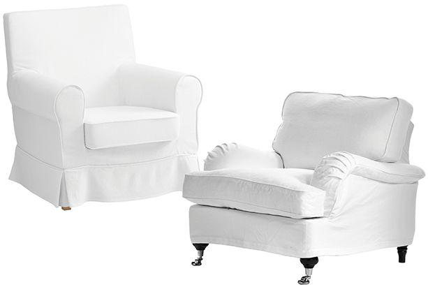 5 / 6 Budget. Fåtölj, Ektorp Jennylund, 1 795 kr, Ikea. Lyx. Fåtölj, Oxford delux, 6 995 kr, Mio.