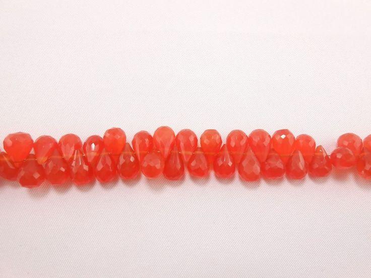"""Fine AAA Carnelian Faceted Teardrop Briolette Gemstone 8"""" Orange Loose Beads #GemstoneTopper #Faceted"""