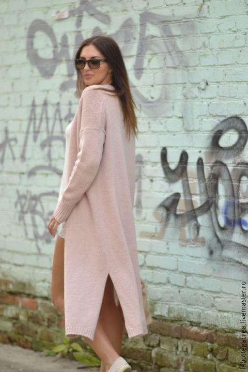 Купить Длинный вязаный кардиган Pastello - кремовый, розовый, длинный кардиган, вязаный кардиган
